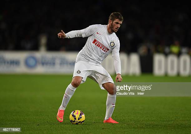 Davide Santon of FC Internazionale in action during the TIM Cup match between SSC Napoli and FC Internazionale at Stadio San Paolo on February 4 2015...