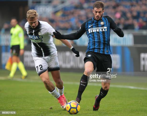 Davide Santon of FC Internazionale Milano is challenged by Antonin Barak of Udinese Calcio during the Serie A match between FC Internazionale and...