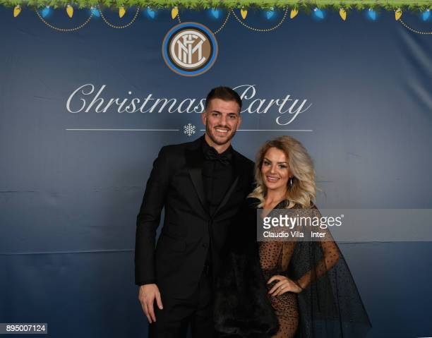 Davide Santon of FC Internazionale with his wife pose for a photo during a FC Internazionale Christmas Party on December 18 2017 in Milan Italy