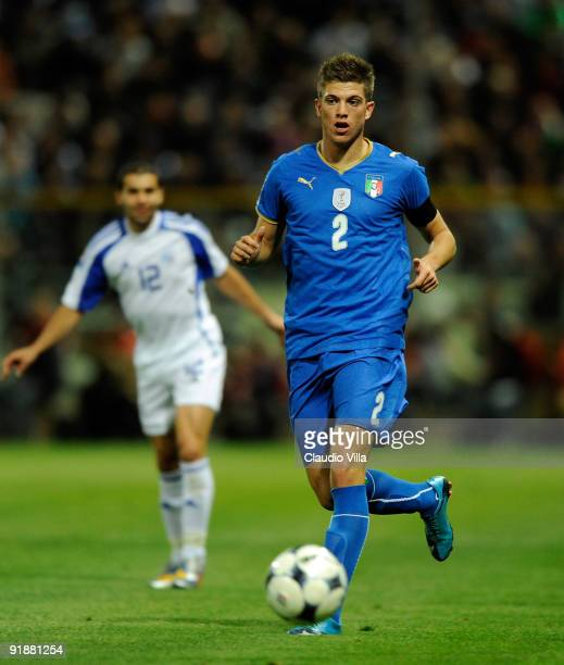Davide Santon of Italy in action during the FIFA 2010 World Cup Group 8 Qualifying match between Italy and Cyprus at Ennio Tardini Stadium on October...