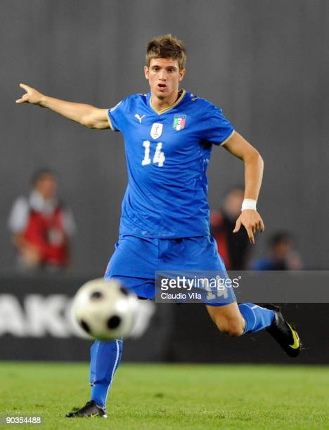 Davide Santon of Italy in action during the FIFA 2010 World Cup Qualifier match between Georgia and Italy at Boris Paichadze National Stadium on...