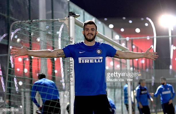 Davide Santon reacts during a FC Internazionale training session at Lekhwiya Stadium on December 29 2015 in Doha Qatar