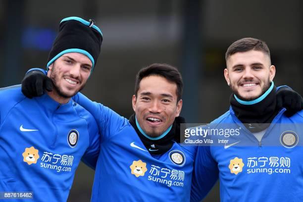 Davide Santon Yuto Nagatomo and Mauro Icardi of FC Internazionale pose for a photo during an FC Internazionale training session at Suning Training...
