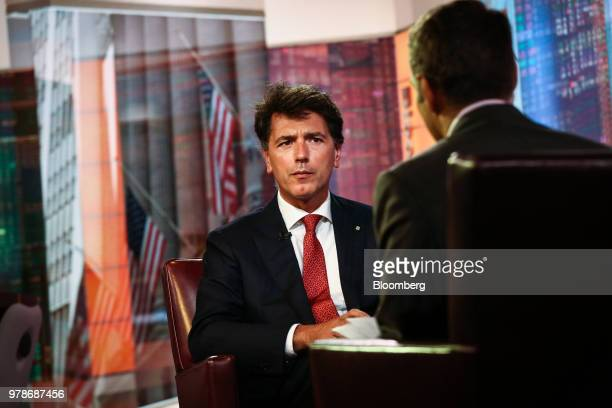 Davide Serra founder and chief executive officer of Algebris Investments LLP speaks during a Bloomberg Television interview in New York US on Tuesday...