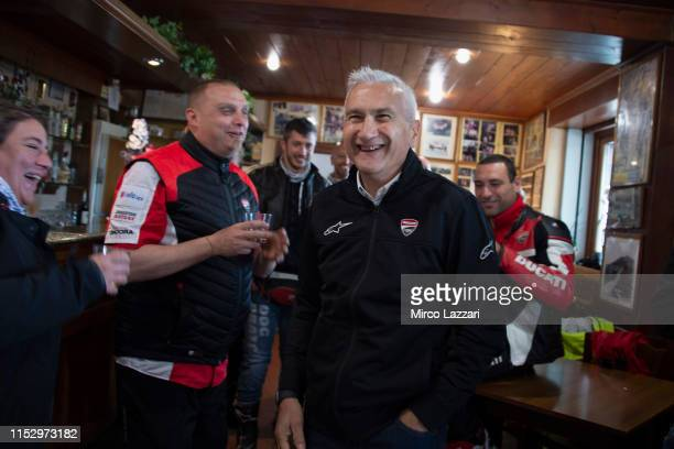 Davide Tardozzi of Italy and Ducati Team smiles in restaurant Passo della Futa during the MotoGp of Italy Filming Day at Mugello Circuit on May 29...