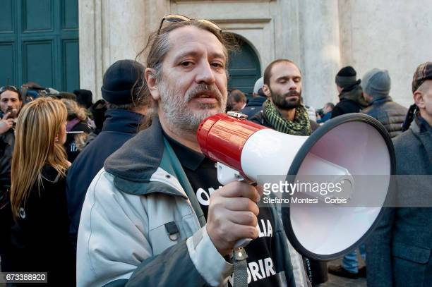 Davide Vannoni founder of Stamina method during the demonstration of the proStamina stem cell treatment support movement in the center of Rome on...