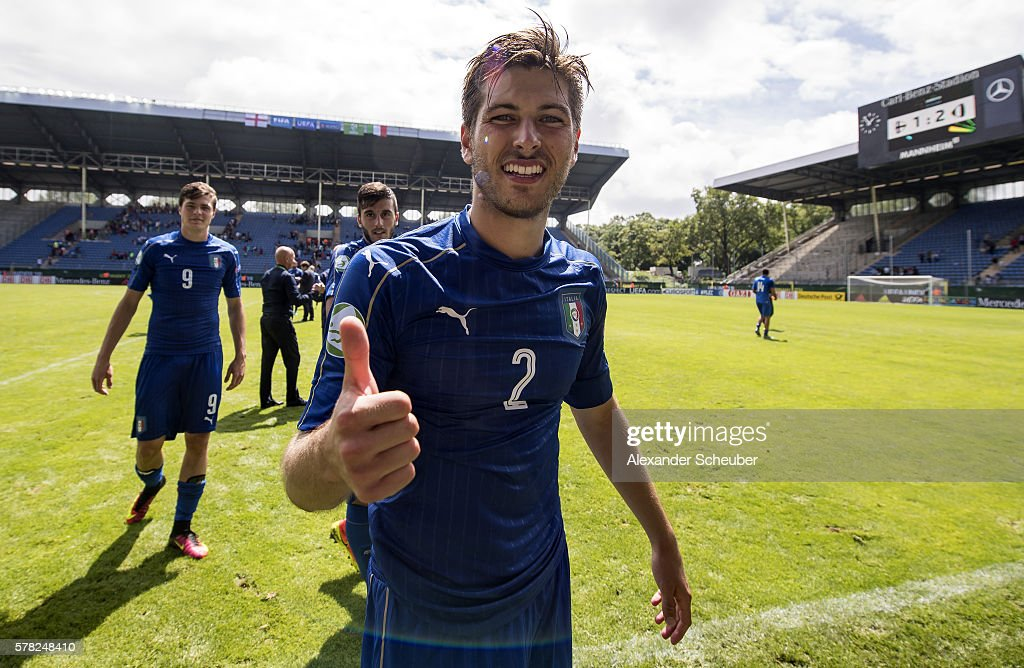 Davide Vitturini of Italy celebrates winning the semi final during the U19 Match between England and Italy at Carl-Benz-Stadium on July 21, 2016 in Mannheim, Germany.