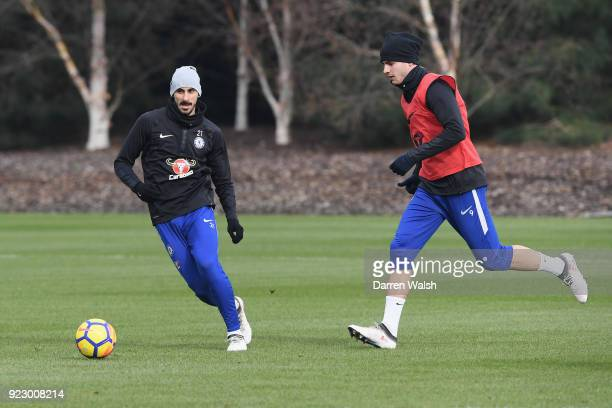 Davide Zappacosta and Alvaro Morata of Chelsea during a training session at Chelsea Training Ground on February 22 2018 in Cobham United Kingdom