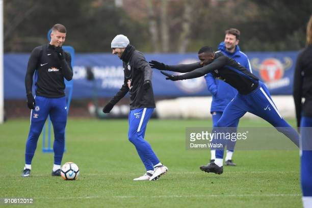 Davide Zappacosta and Antonio Rudiger of Chelsea during a training session at Chelsea Training Ground on January 26 2018 in Cobham England
