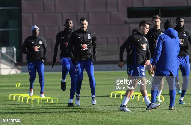 Davide Zappacosta and Antonio Rudiger of Chelsea during a training session at Chelsea Training Ground on February 2 2018 in Cobham England