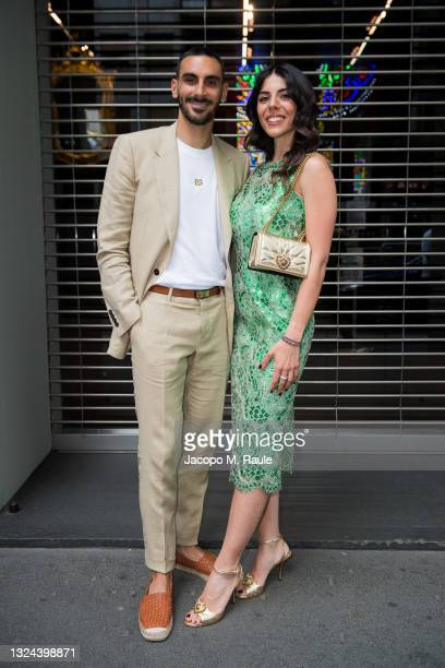 Davide Zappacosta and Camilla Morelli are seen arriving at the Dolce & Gabbana Fashion Show during the Milan Men's Fashion Week Spring/Summer 2021/22...