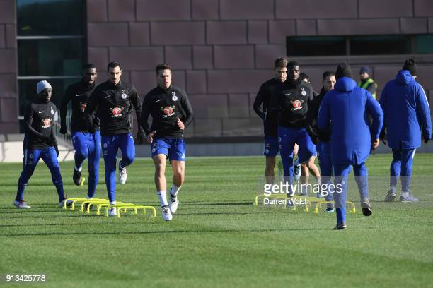 Davide Zappacosta and Cesar Azpilicueta of Chelsea during a training session at Chelsea Training Ground on February 2 2018 in Cobham England