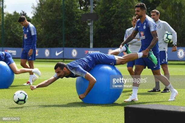 Davide Zappacosta and Emerson of Chelsea during a training session at Chelsea Training Ground on July 10 2018 in Cobham England