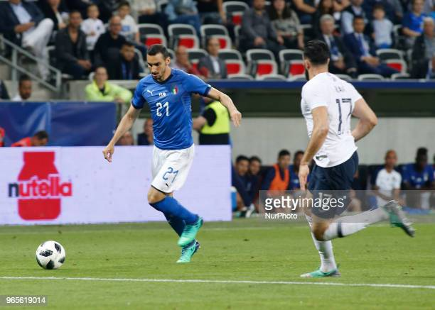 Davide Zappacosta during the friendly match between France and Italy in Nice on June 1 2018