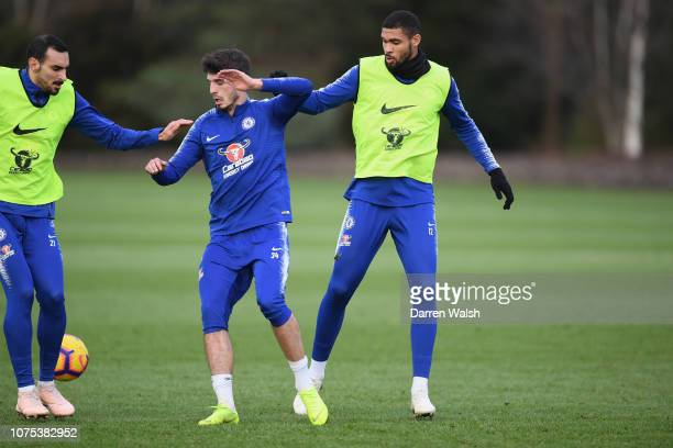 Davide Zappacosta Lucas Piazon and Ruben LoftusCheek of Chelsea during a training session at Chelsea Training Ground on December 28 2018 in Cobham...