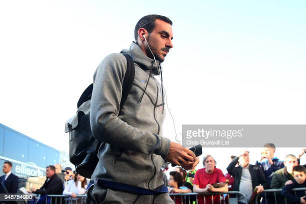 Davide Zappacosta of Chelsea arrives ahead of the Premier League match between Burnley and Chelsea at Turf Moor on April 19 2018 in Burnley England