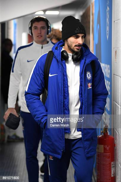 Davide Zappacosta of Chelsea arrives at the stadium prior to the Premier League match between Huddersfield Town and Chelsea at John Smith's Stadium...