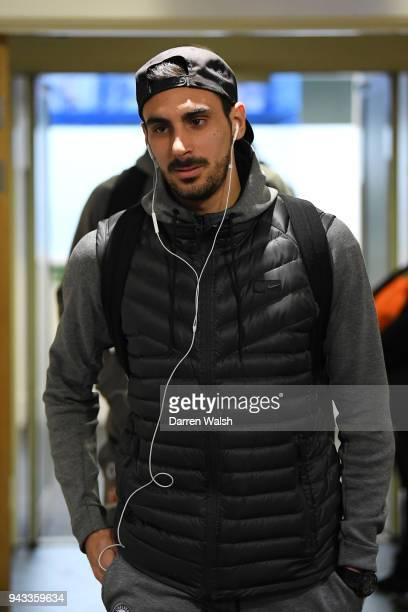 Davide Zappacosta of Chelsea arrives at the stadium prior to the Premier League match between Chelsea and West Ham United at Stamford Bridge on April...