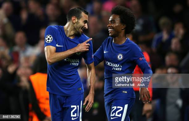 Davide Zappacosta of Chelsea celebrates after he scores a goal to make it 20 with Willian of Chelsea during the UEFA Champions League group C match...