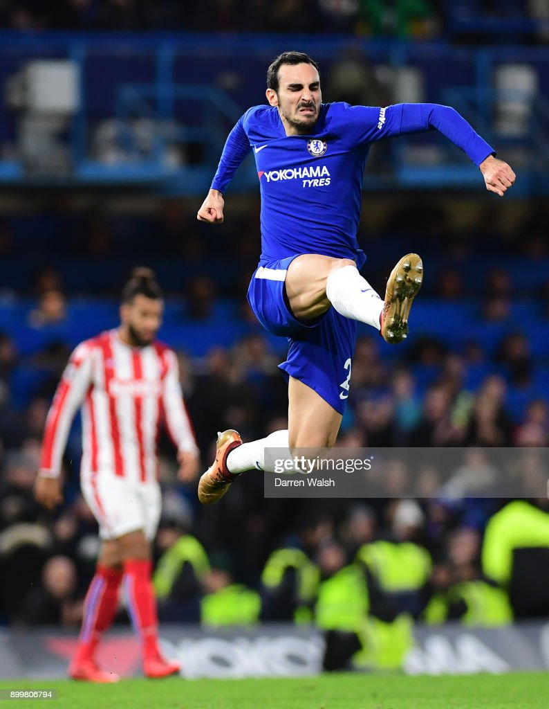 Davide Zappacosta of Chelsea celebrates after scoring his sides fifth goal during the Premier League match between Chelsea and Stoke City at Stamford Bridge on December 30, 2017 in London, England.
