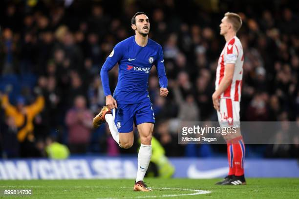 Davide Zappacosta of Chelsea celebrates after scoring his sides fifth goal during the Premier League match between Chelsea and Stoke City at Stamford...