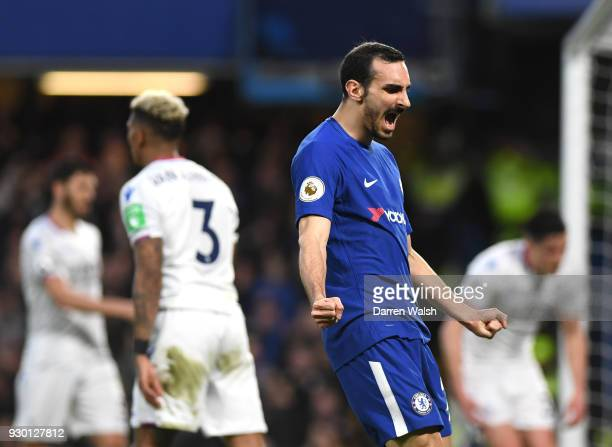 Davide Zappacosta of Chelsea celebrates his sides second goal after Martin Kelly of Crystal Palace scores an own goal during the Premier League match...