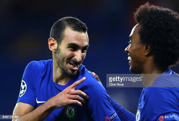Davide Zappacosta of Chelsea celebrates scoring his sides second goal with Willian of Chelsea during the UEFA Champions League Group C match between...