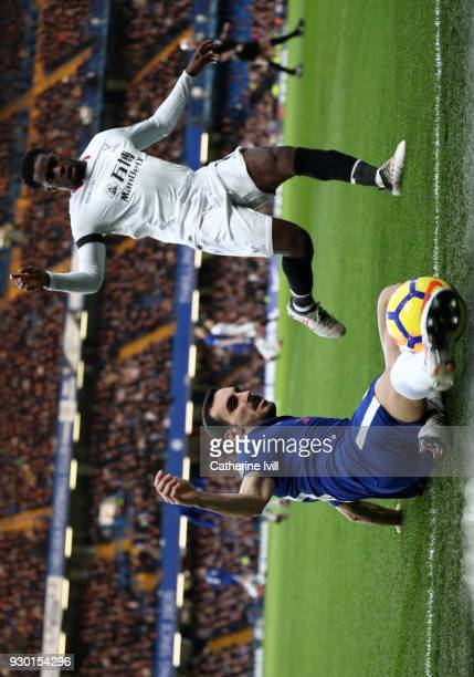 Davide Zappacosta of Chelsea controls the ball during the Premier League match between Chelsea and Crystal Palace at Stamford Bridge on March 10 2018...
