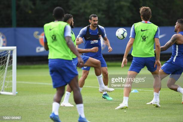 Davide Zappacosta of Chelsea during a training session at Chelsea Training Ground on July 16 2018 in Cobham England