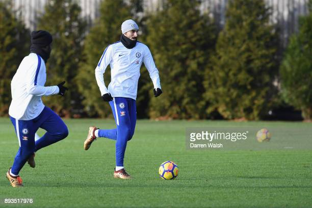 Davide Zappacosta of Chelsea during a training session at Chelsea Training Ground on December 15 2017 in Cobham England