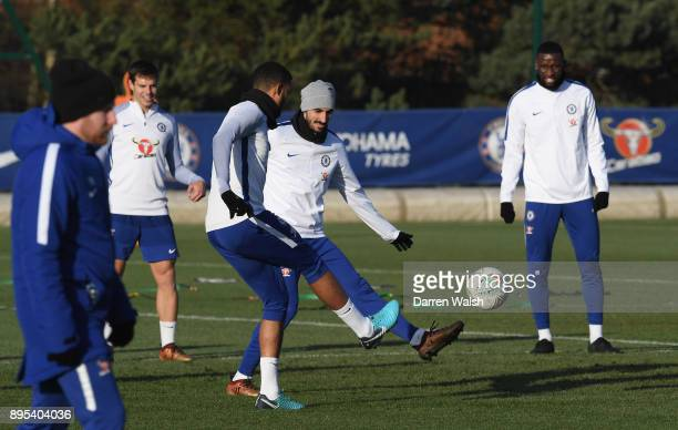 Davide Zappacosta of Chelsea during a training session at Chelsea Training Ground on December 18 2017 in Cobham England