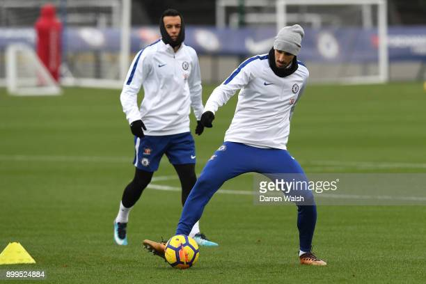 Davide Zappacosta of Chelsea during a training session at Chelsea Training Ground on December 29 2017 in Cobham England