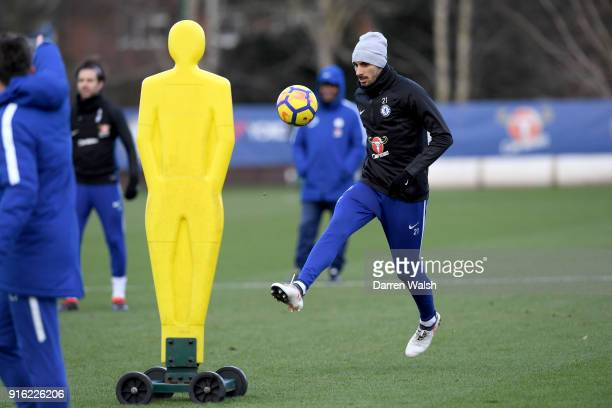 Davide Zappacosta of Chelsea during a training session at Chelsea Training Ground on February 9 2018 in Cobham England