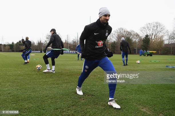 Davide Zappacosta of Chelsea during a training session at Chelsea Training Ground on February 14 2018 in Cobham England