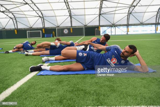 Davide Zappacosta of Chelsea during a training session at Chelsea Training Ground on July 7 2018 in Cobham England