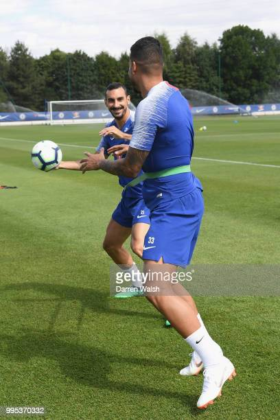 Davide Zappacosta of Chelsea during a training session at Chelsea Training Ground on July 10 2018 in Cobham England
