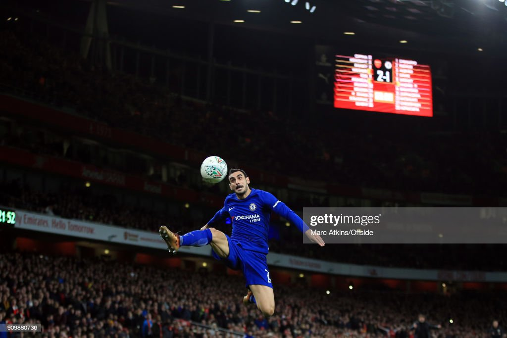 Davide Zappacosta of Chelsea during the Carabao Cup Semi-Final 2nd leg match between Arsenal and Chelsea at Emirates Stadium on January 24, 2018 in London, England.