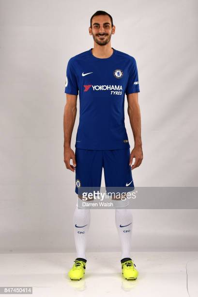 Davide Zappacosta of Chelsea during the Chelsea Squad Photocall at Chelsea Training Ground on September 15 2017 in Cobham England