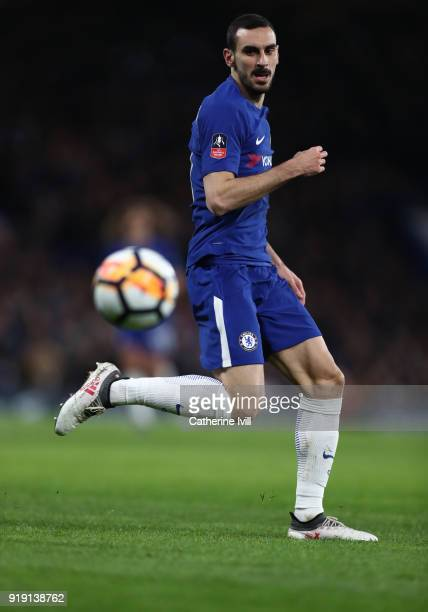 Davide Zappacosta of Chelsea during The Emirates FA Cup Fifth Round match between Chelsea and Hull City at Stamford Bridge on February 16 2018 in...