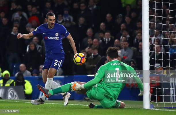 Davide Zappacosta of Chelsea has a shot saved by Ben Foster of West Bromwich Albion during the Premier League match between Chelsea and West Bromwich...