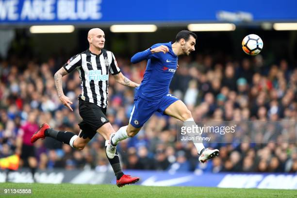 Davide Zappacosta of Chelsea headers the ball away from the pressure of Jonjo Shelvey of Newcastle United during The Emirates FA Cup Fourth Round...