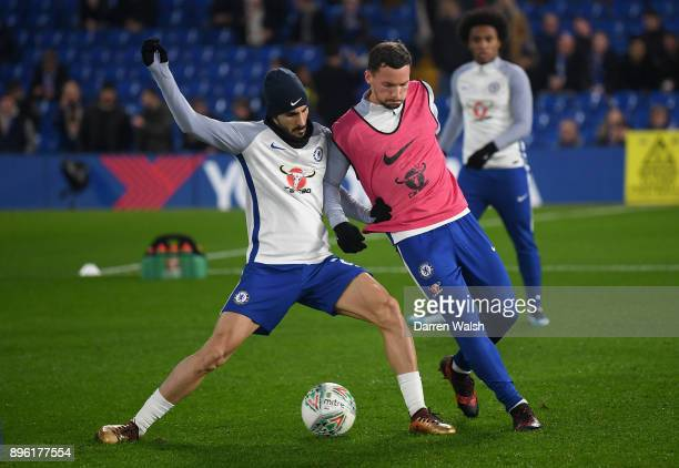 Davide Zappacosta of Chelsea is battles for possesion with Danny Drinkwater of Chelsea during the warm up prior to the Carabao Cup QuarterFinal match...