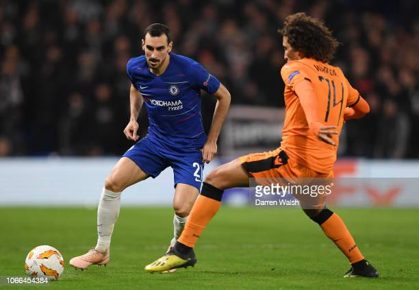 Davide Zappacosta of Chelsea is challenged by Amr Warda of PAOK FC during the UEFA Europa League Group L match between Chelsea and PAOK at Stamford...