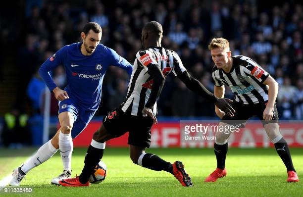 Davide Zappacosta of Chelsea is challenged by Massadio Haidara of Newcastle United during The Emirates FA Cup Fourth Round match between Chelsea and...