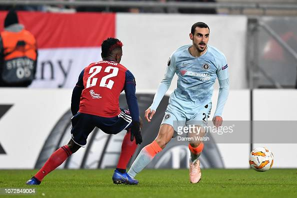 Davide Zappacosta Of Chelsea Is Challenged By Stopira Of