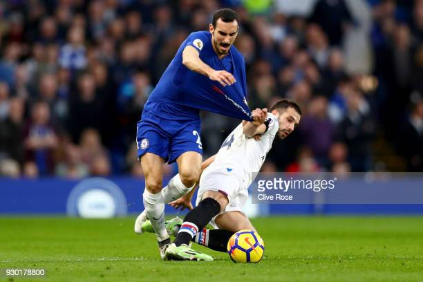 Davide Zappacosta of Chelsea is fouled by Luka Milivojevic of Crystal Palace during the Premier League match between Chelsea and Crystal Palace at...