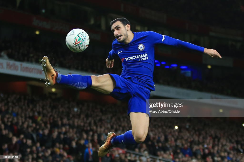 Davide Zappacosta of Chelsea leaps acrobatically during the Carabao Cup Semi-Final 2nd leg match between Arsenal and Chelsea at Emirates Stadium on January 24, 2018 in London, England.