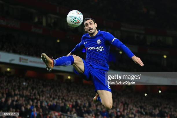 Davide Zappacosta of Chelsea leaps acrobatically during the Carabao Cup SemiFinal 2nd leg match between Arsenal and Chelsea at Emirates Stadium on...