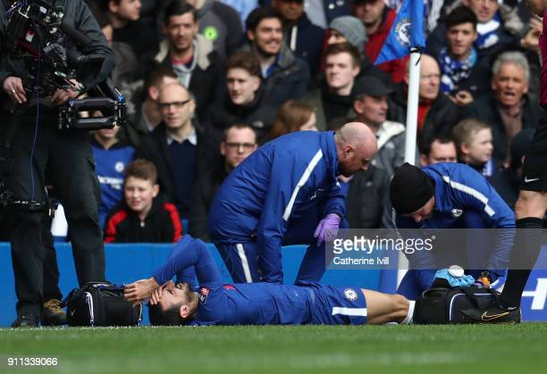 Davide Zappacosta of Chelsea lies injured during The Emirates FA Cup Fourth Round match between Chelsea and Newcastle on January 28 2018 in London...