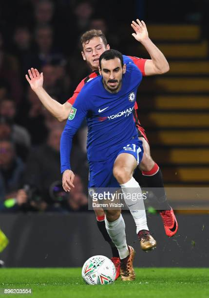 Davide Zappacosta of Chelsea runs with the ball away from pressure by Ryan Fraser of AFC Bournemouth during the Carabao Cup QuarterFinal match...